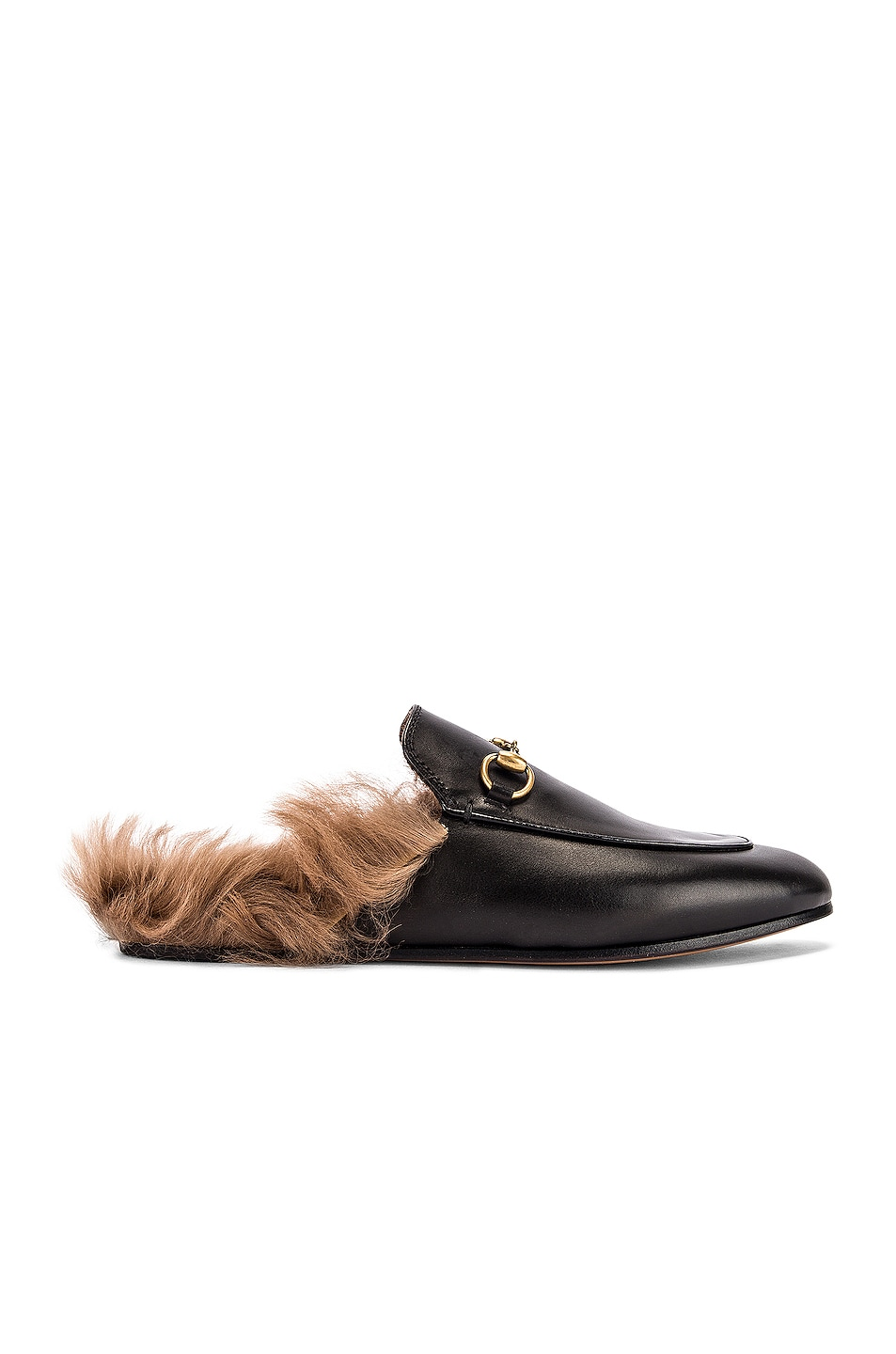 Image 1 of Gucci Princetown Slides in Black & Natural