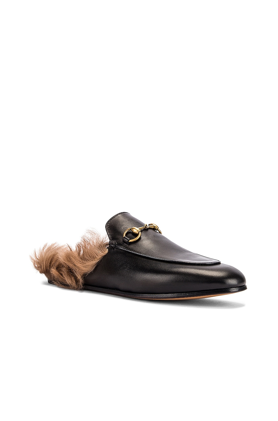 Image 2 of Gucci Princetown Slides in Black & Natural