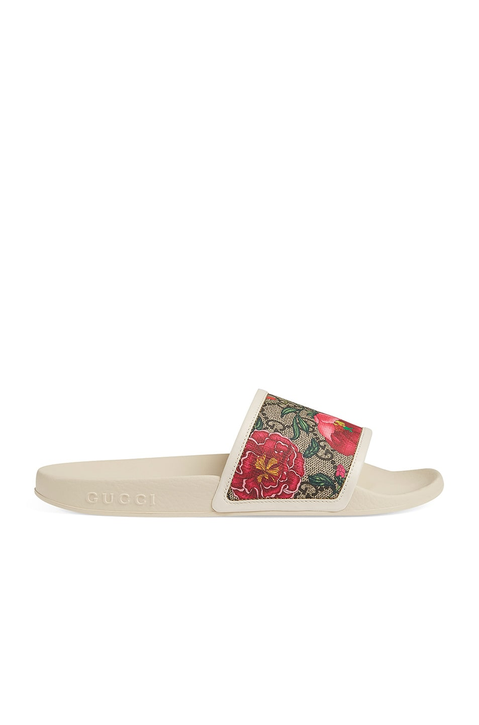 Image 1 of Gucci Flora Slides in White