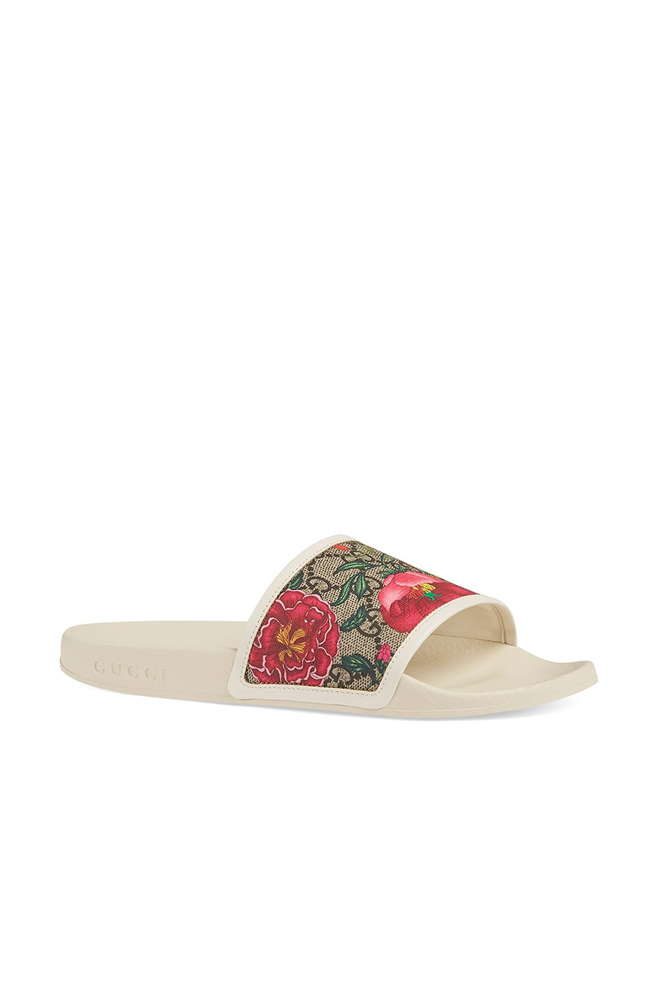 Image 2 of Gucci Flora Slides in White
