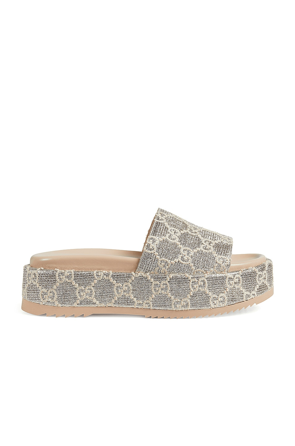 Image 1 of Gucci Angelina Slides in Silver & Beige