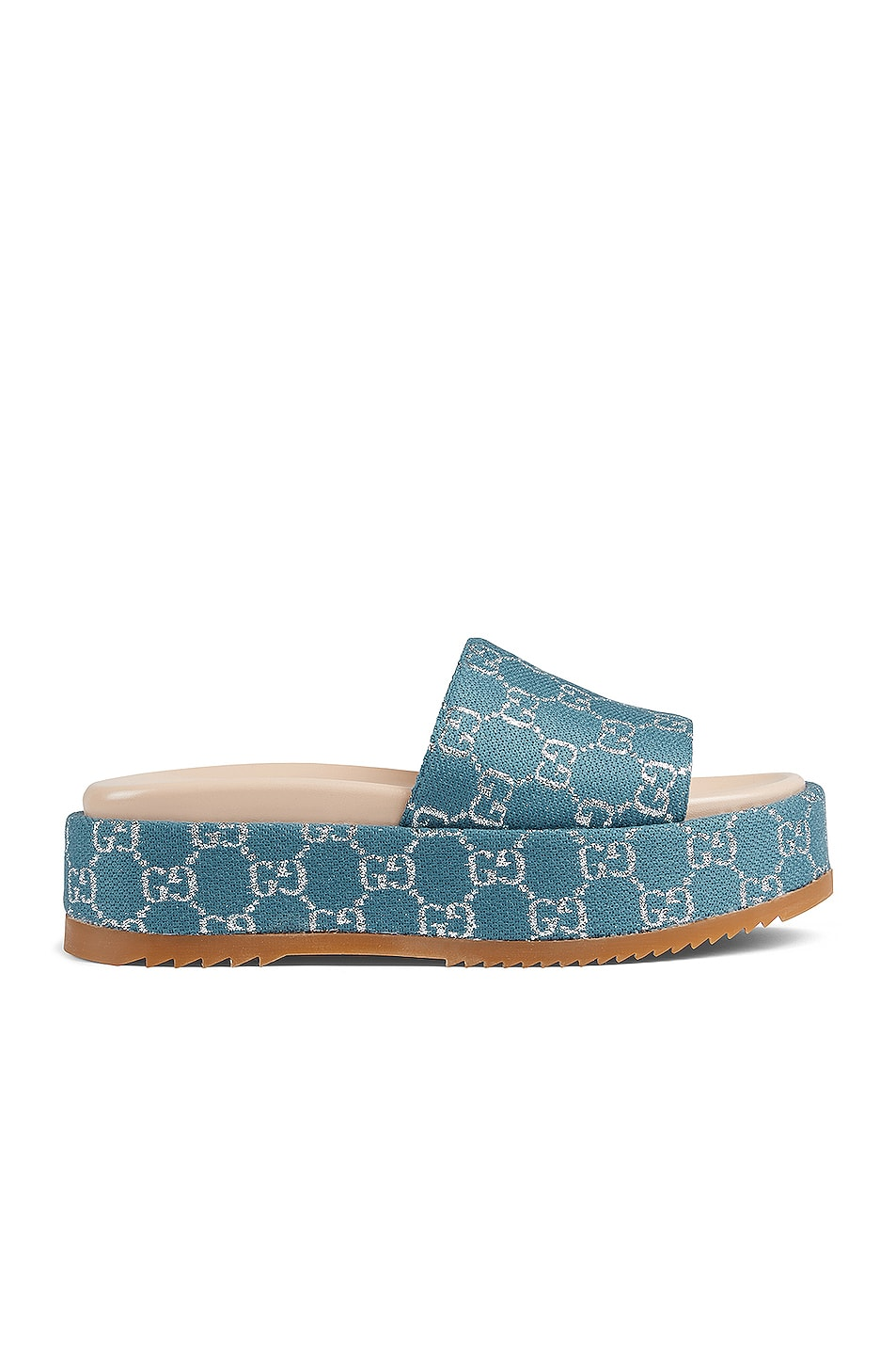 Image 1 of Gucci Angelina Fabric Sandals in Blue & Silver