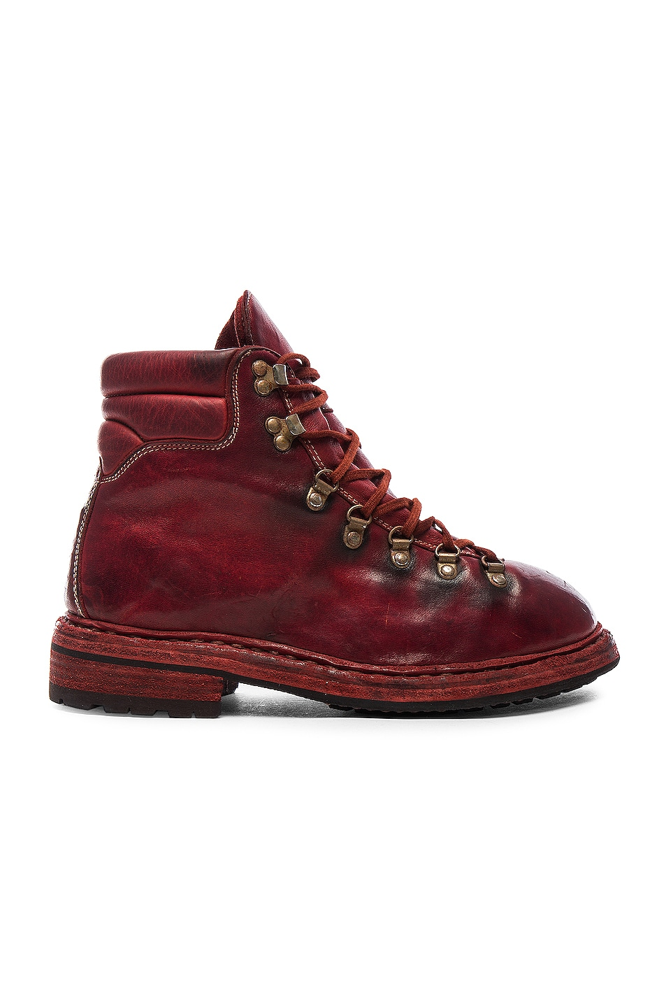 Image 1 of Guidi Lace Up Leather Combat Boots in Red