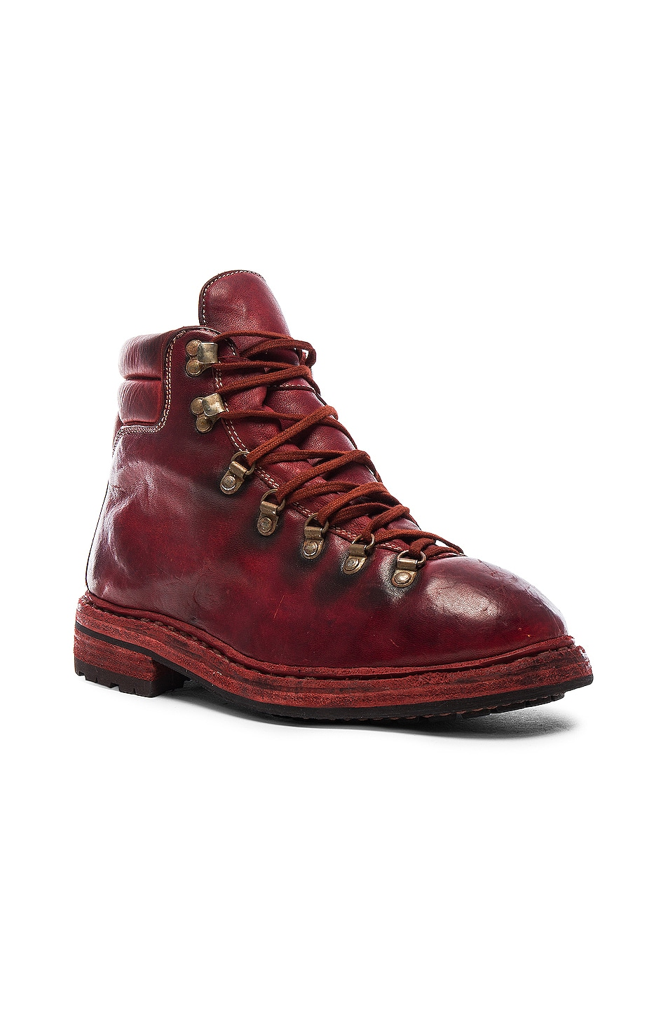 Image 2 of Guidi Lace Up Leather Combat Boots in Red