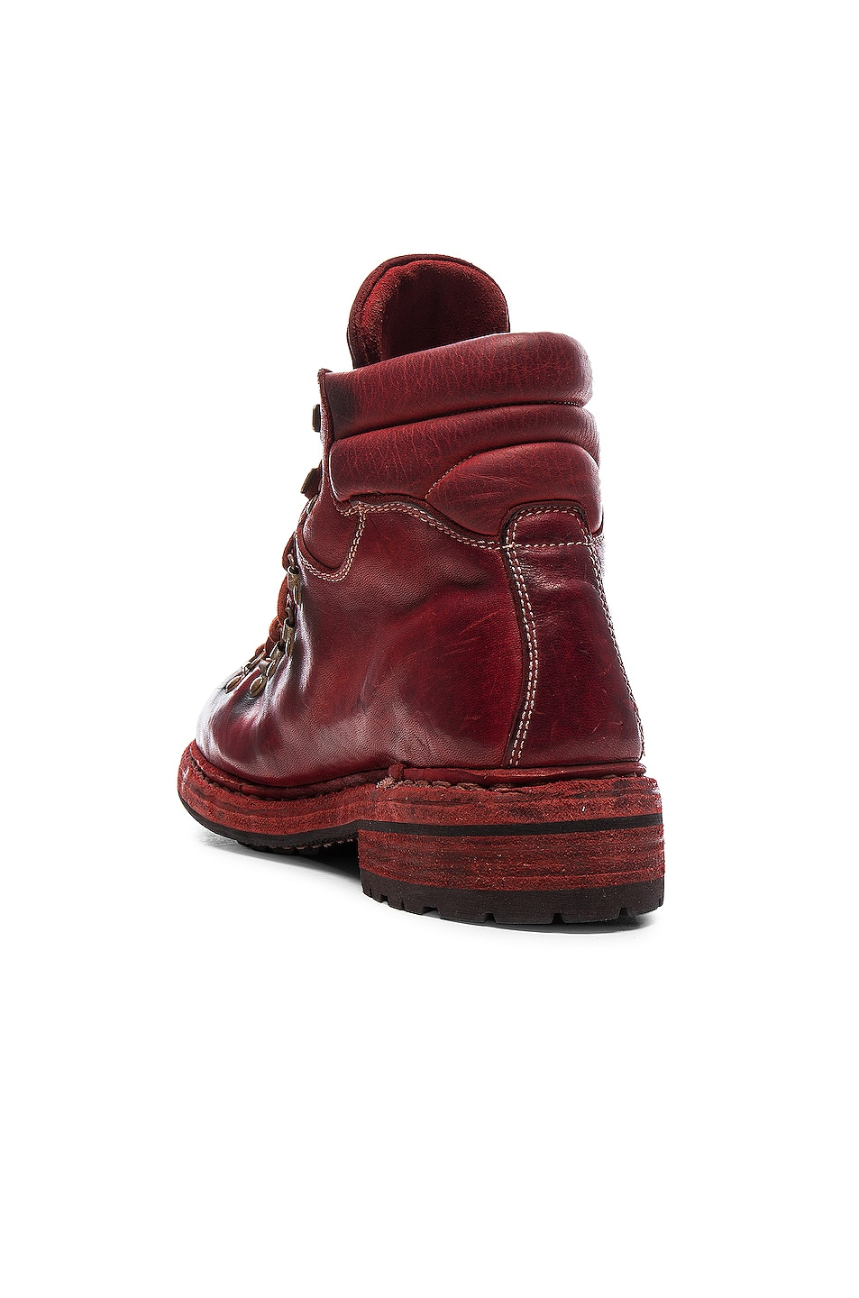 Image 3 of Guidi Lace Up Leather Combat Boots in Red