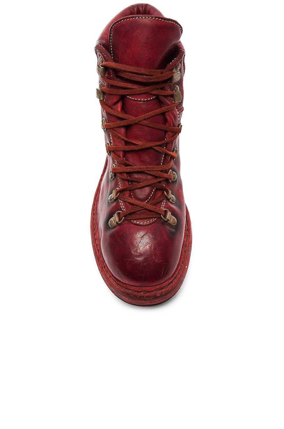 Image 4 of Guidi Lace Up Leather Combat Boots in Red