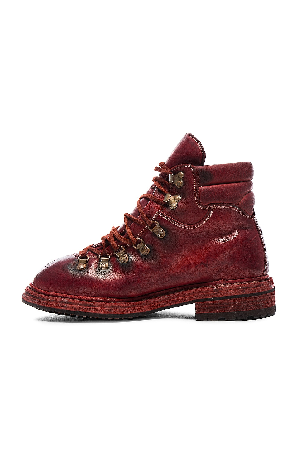Image 5 of Guidi Lace Up Leather Combat Boots in Red