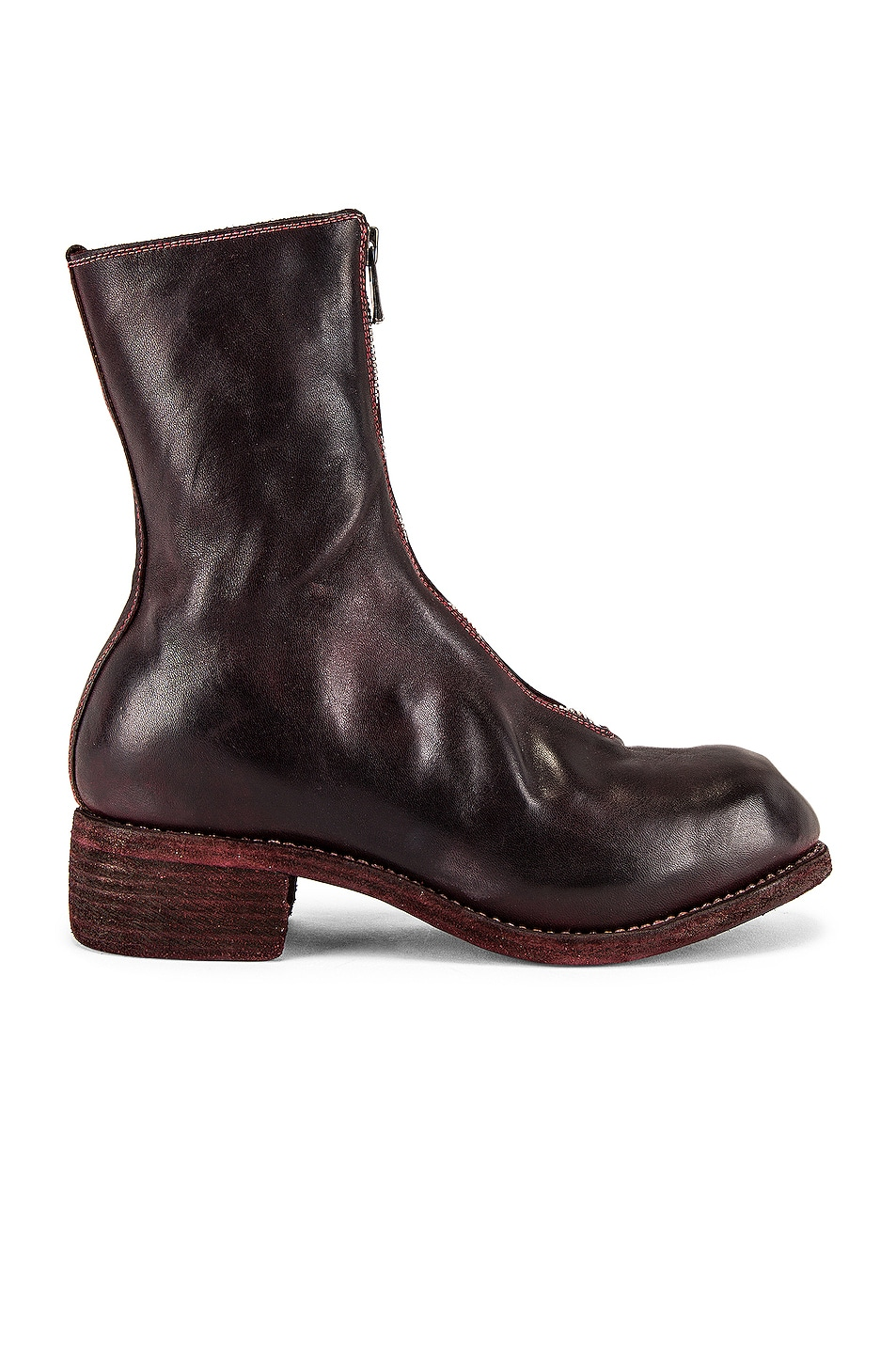 Image 1 of Guidi Full Grain Horse Front Zip Boot in Burgundy