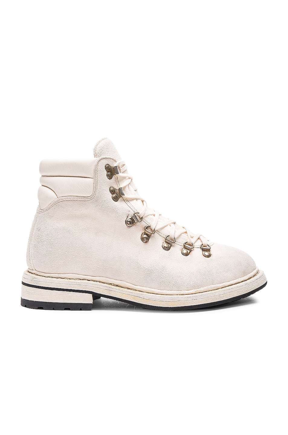 Image 1 of Guidi Lace Up Suede Combat Boots in White