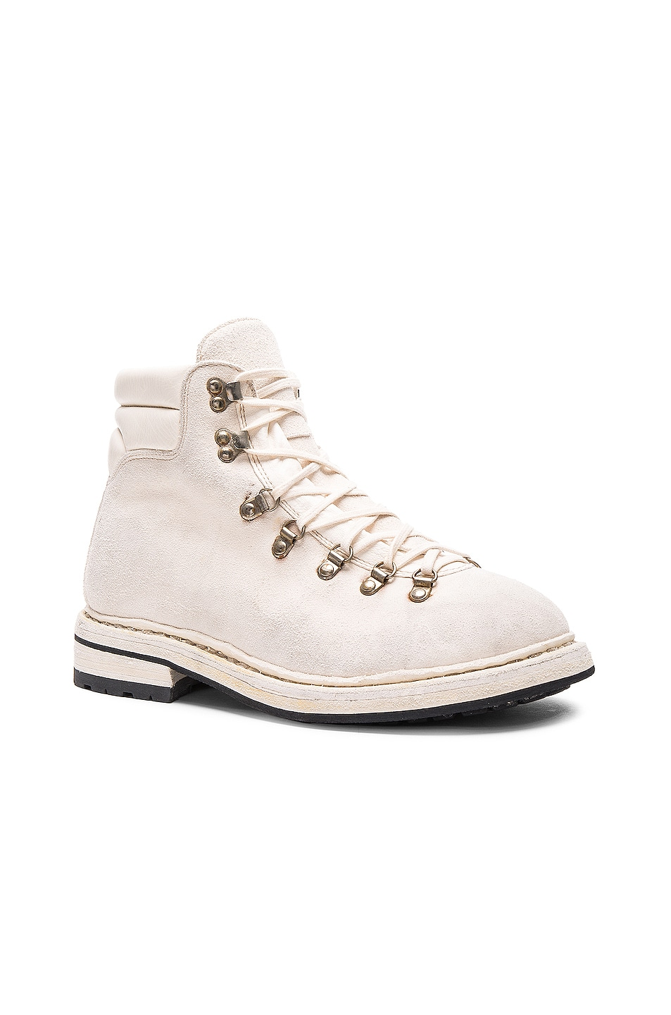 Image 2 of Guidi Lace Up Suede Combat Boots in White