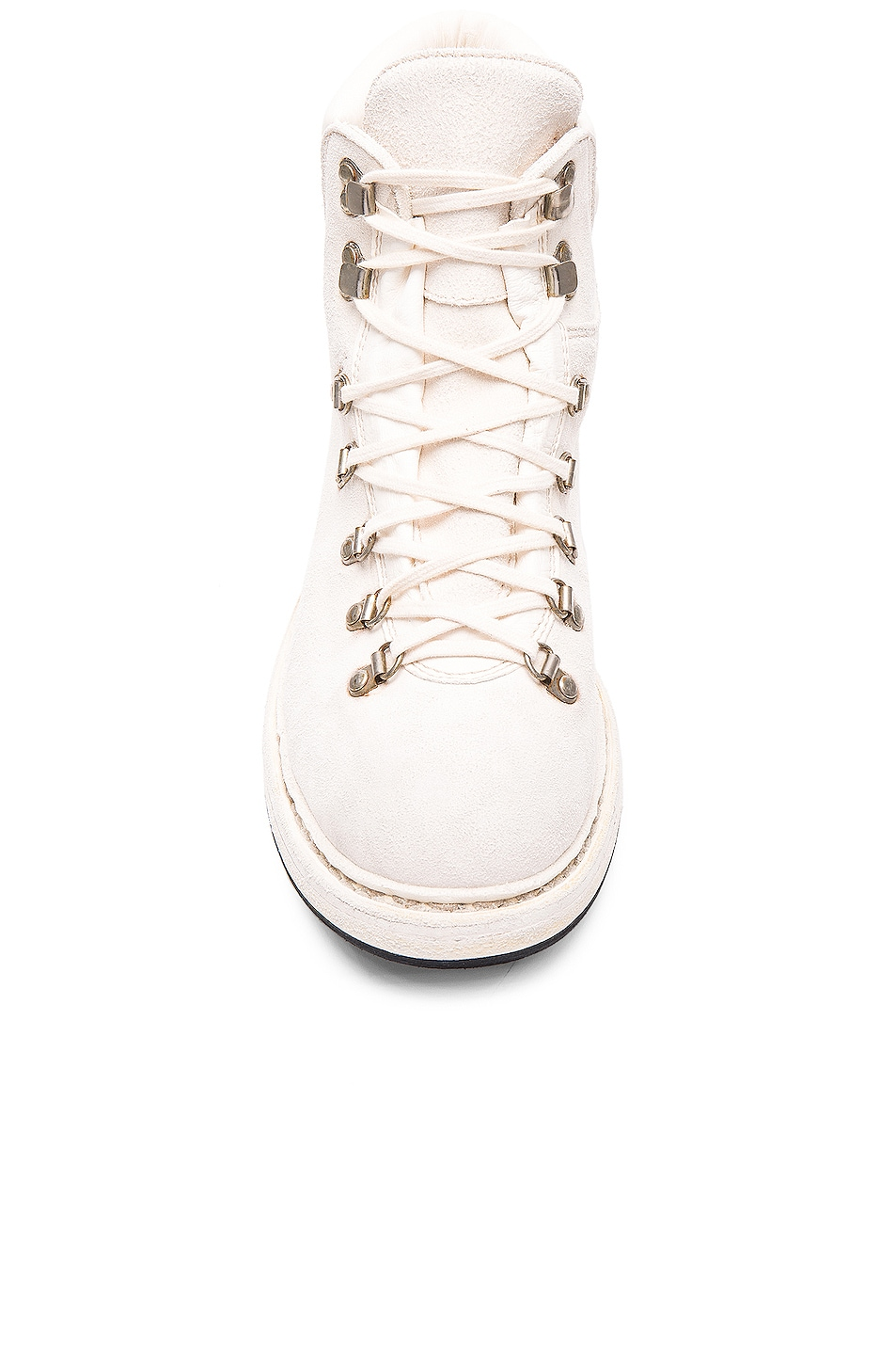 Image 4 of Guidi Lace Up Suede Combat Boots in White