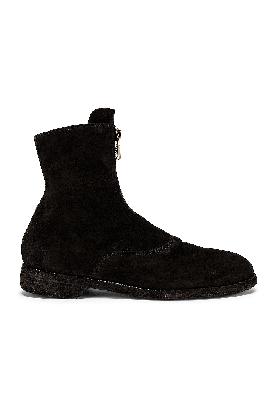 Image 1 of Guidi Stag Suede Zipper Boots in Black