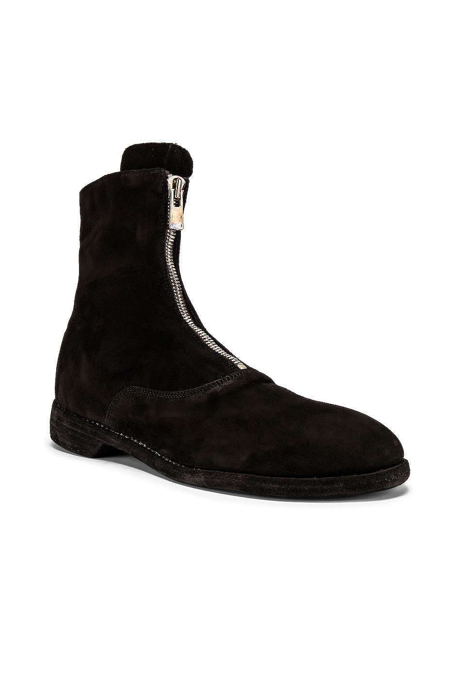 Image 2 of Guidi Stag Suede Zipper Boots in Black