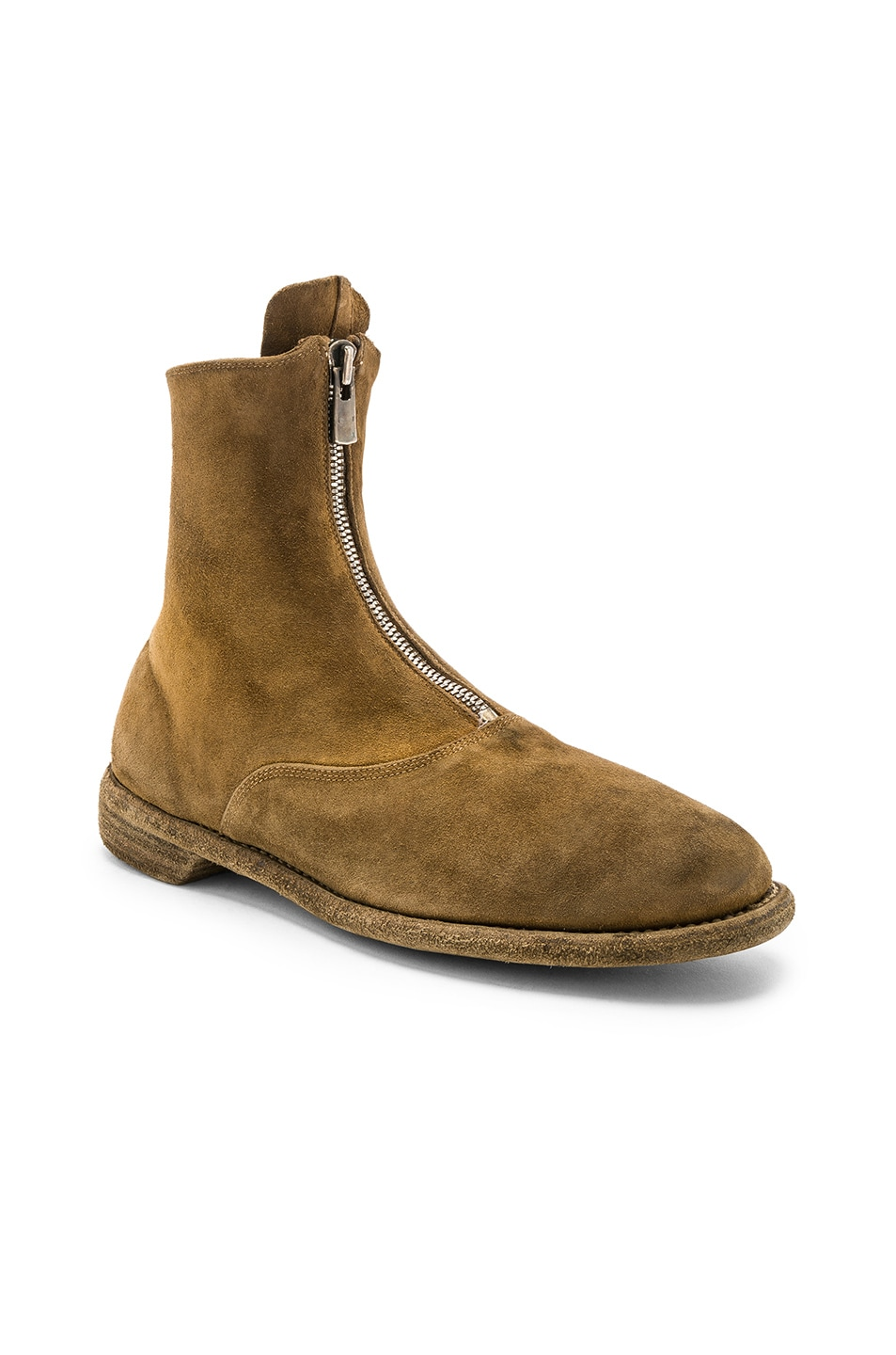 Image 1 of Guidi Suede Stag Front Zip Boots in Brown
