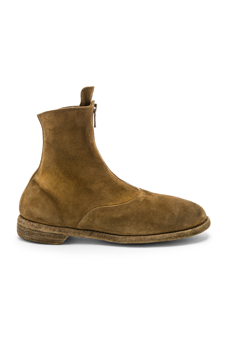 Image 2 of Guidi Suede Stag Front Zip Boots in Brown
