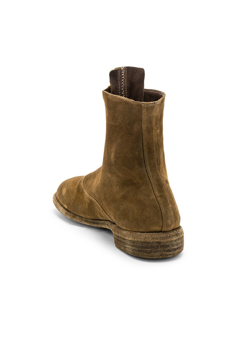 Image 3 of Guidi Suede Stag Front Zip Boots in Brown