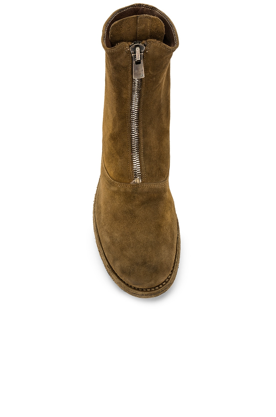 Image 4 of Guidi Suede Stag Front Zip Boots in Brown