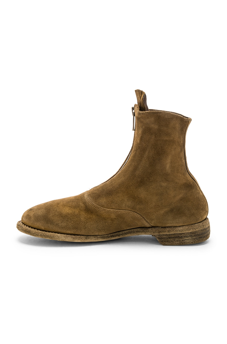 Image 5 of Guidi Suede Stag Front Zip Boots in Brown