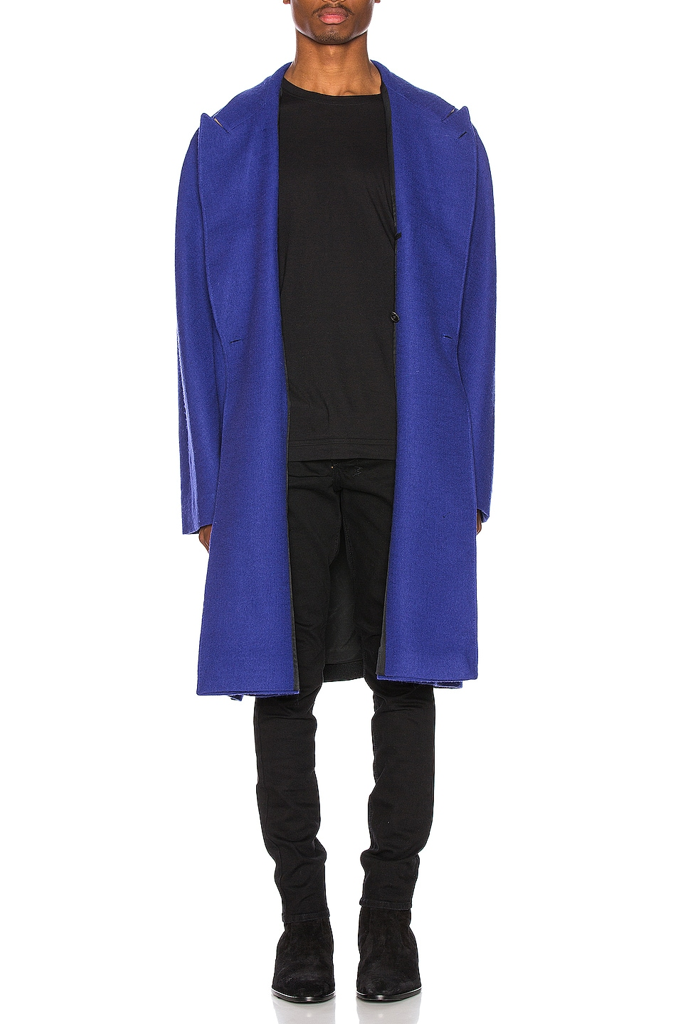 Image 1 of Haider Ackermann Oversized Coat in Sargent Blue & Lord Black & Lord Camel