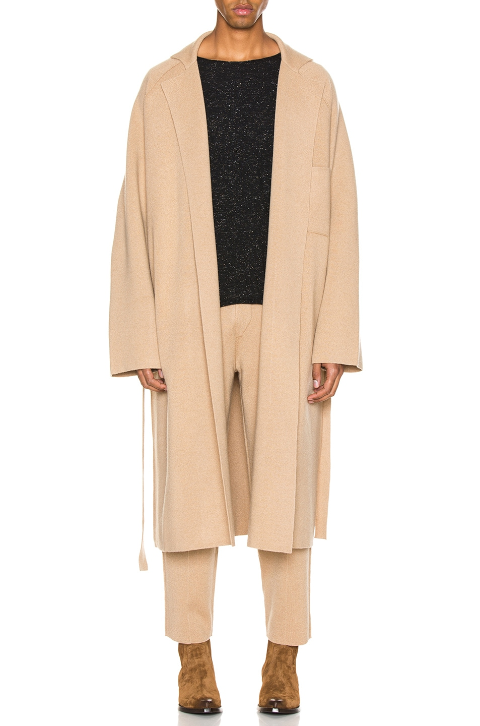 Image 1 of Haider Ackermann Knitted Coat in Invidia Camel