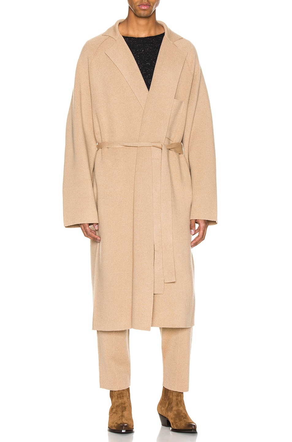 Image 2 of Haider Ackermann Knitted Coat in Invidia Camel
