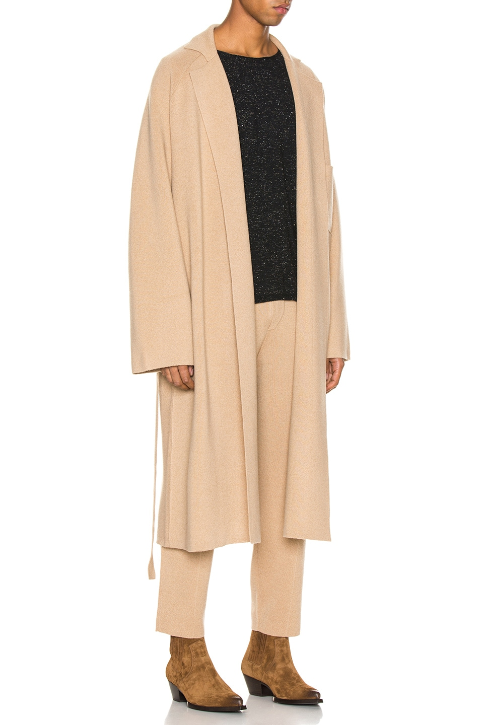 Image 3 of Haider Ackermann Knitted Coat in Invidia Camel