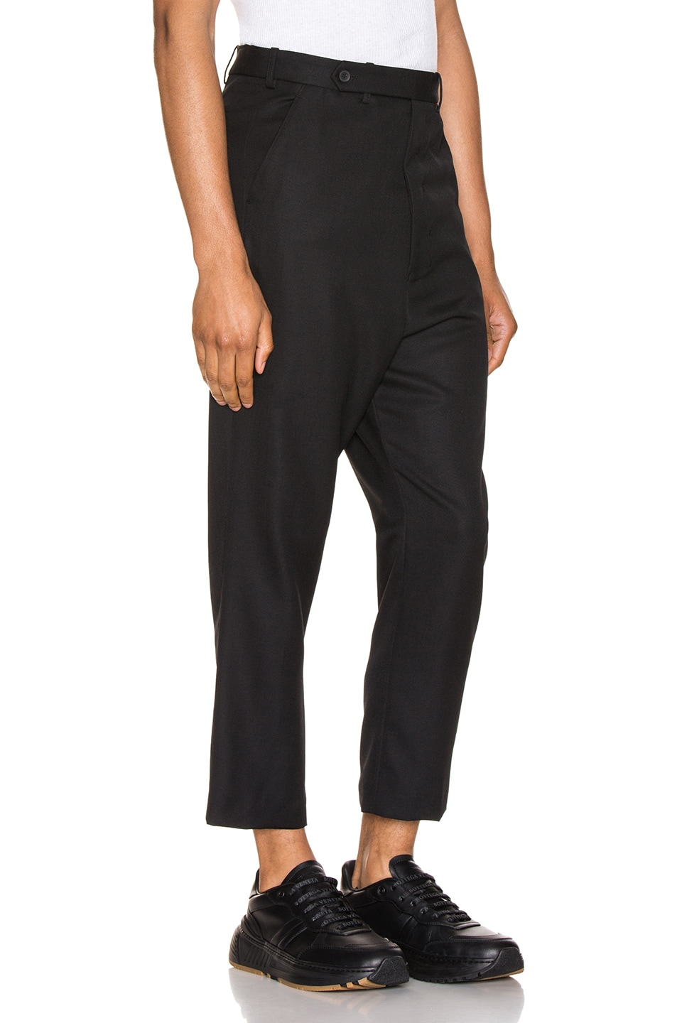 Image 2 of Haider Ackermann Cropped Low Crotch Trousers in Miles Black