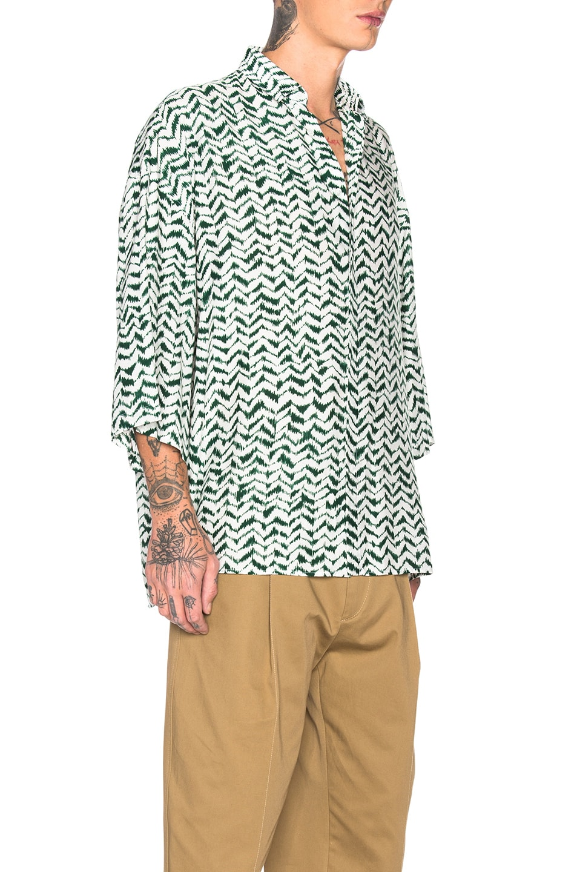 Image 2 of Haider Ackermann Short Sleeve Shirt in Greenfield Green