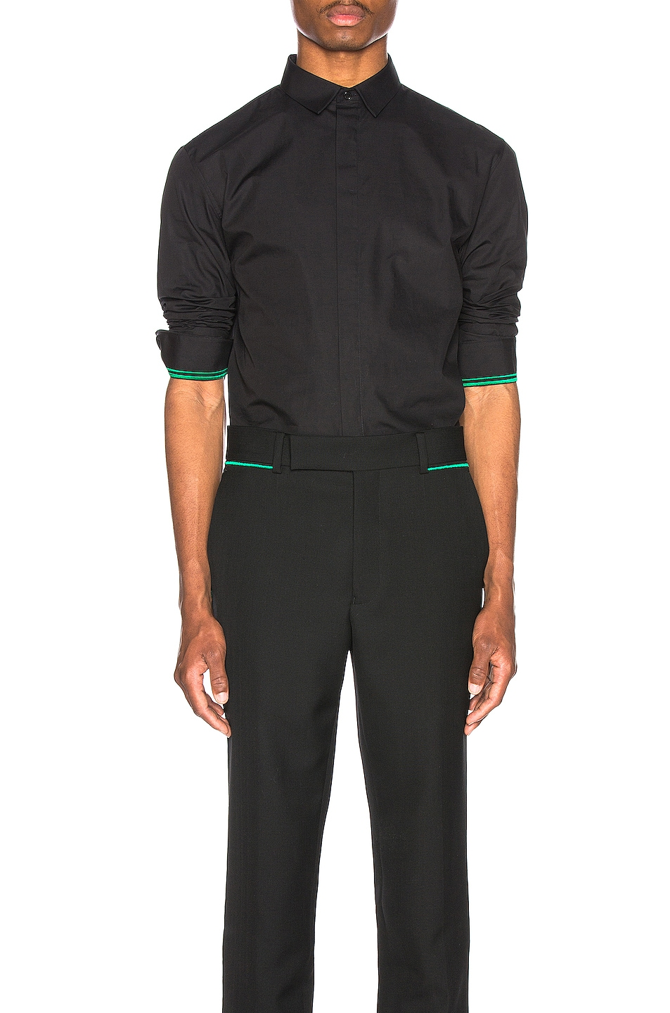 Image 1 of Haider Ackermann Embroidered Classic Shirt in Byron Black & Green