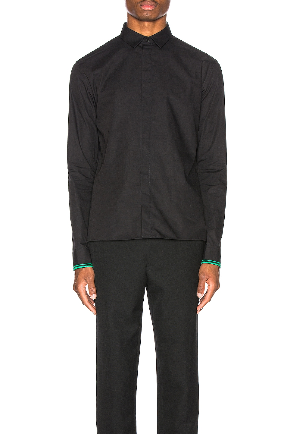 Image 2 of Haider Ackermann Embroidered Classic Shirt in Byron Black & Green