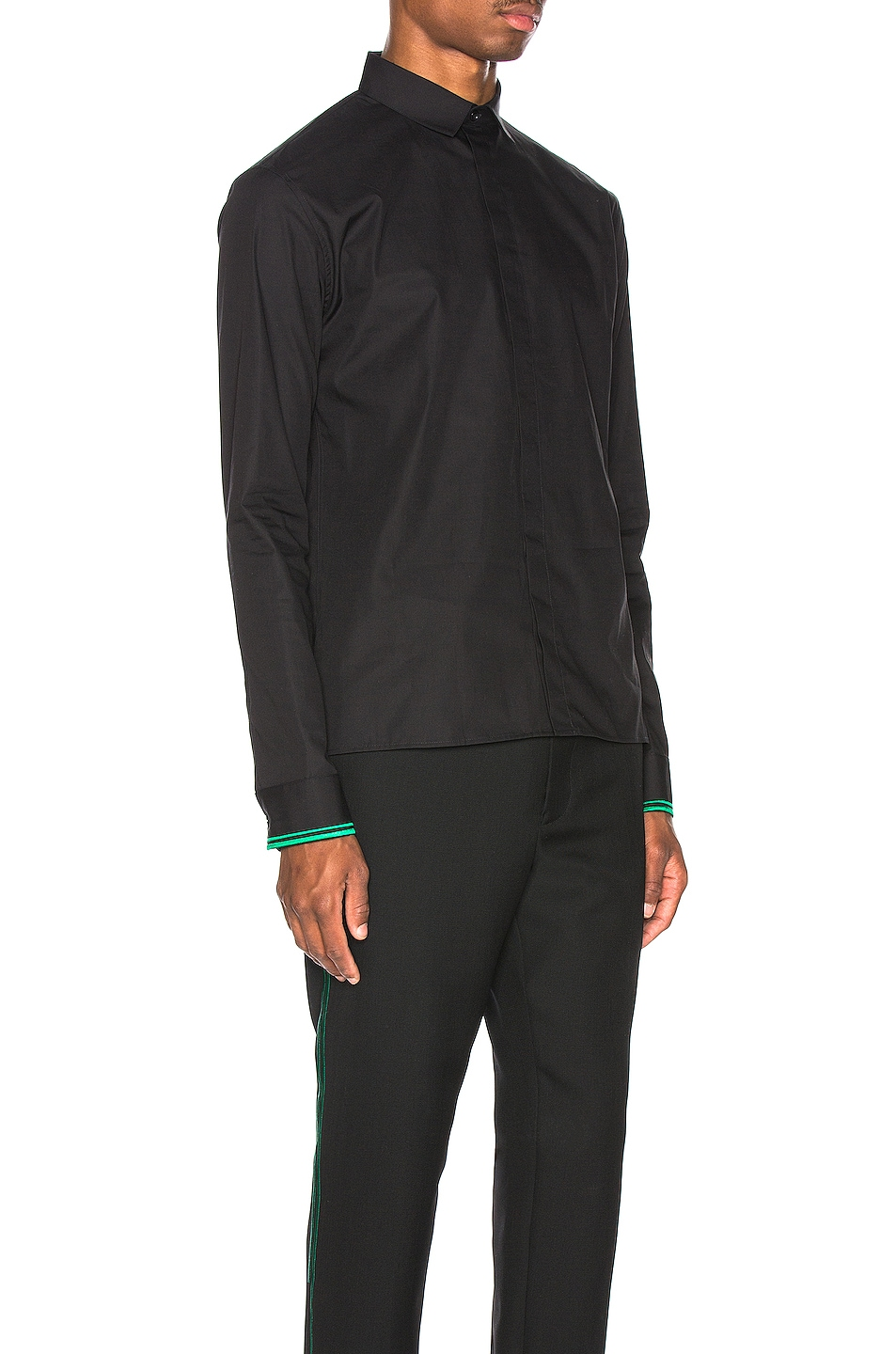 Image 3 of Haider Ackermann Embroidered Classic Shirt in Byron Black & Green