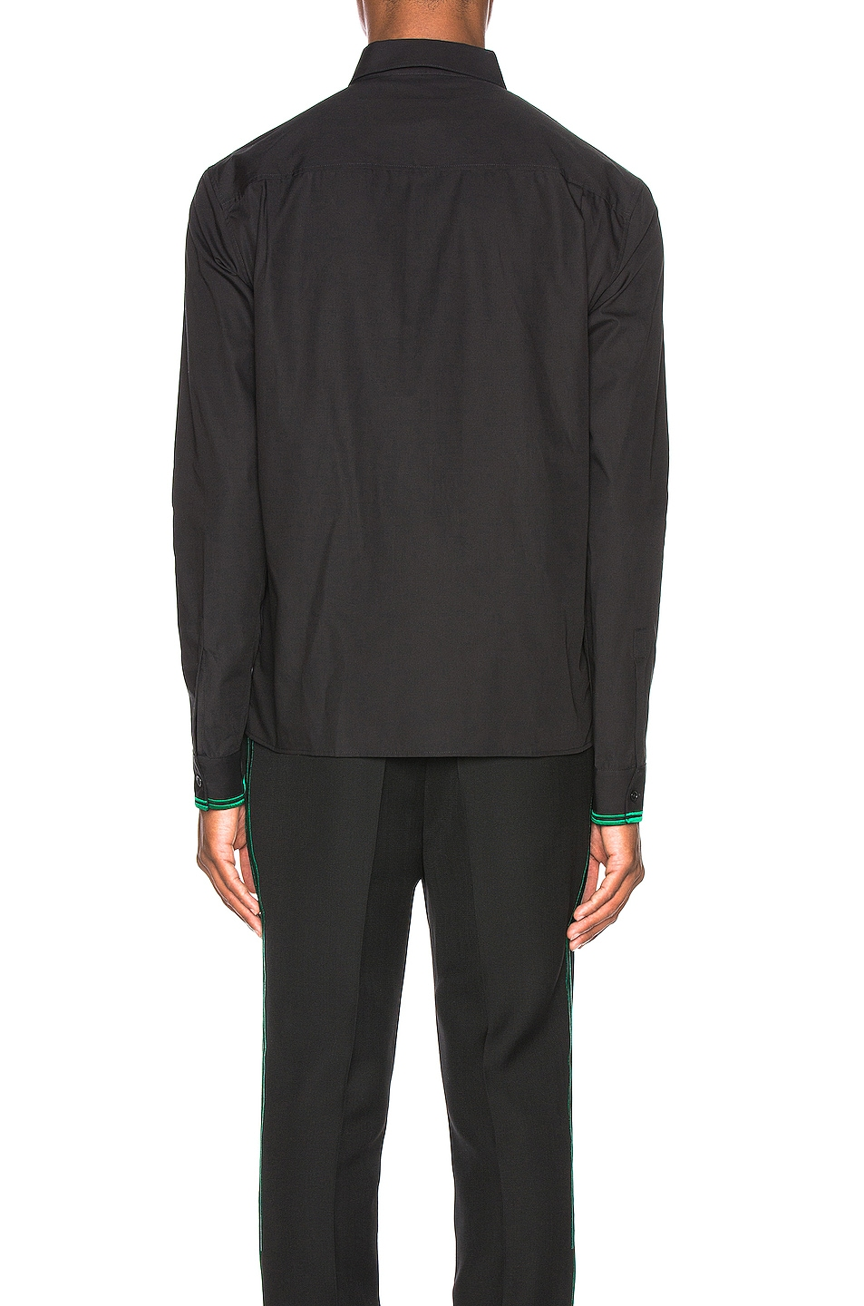 Image 4 of Haider Ackermann Embroidered Classic Shirt in Byron Black & Green