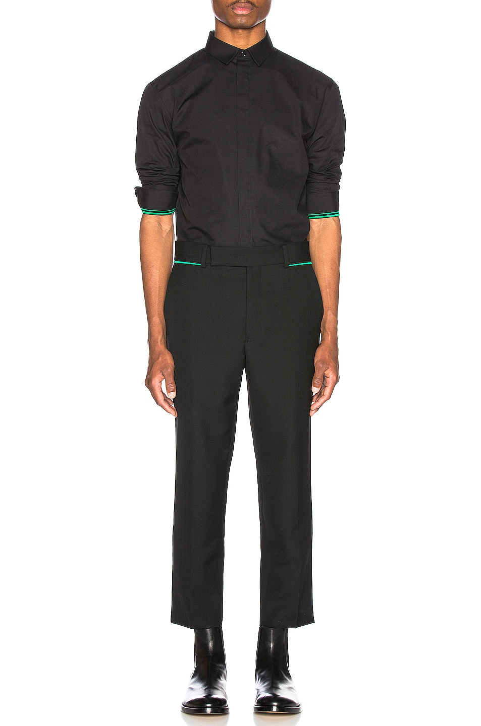 Image 5 of Haider Ackermann Embroidered Classic Shirt in Byron Black & Green
