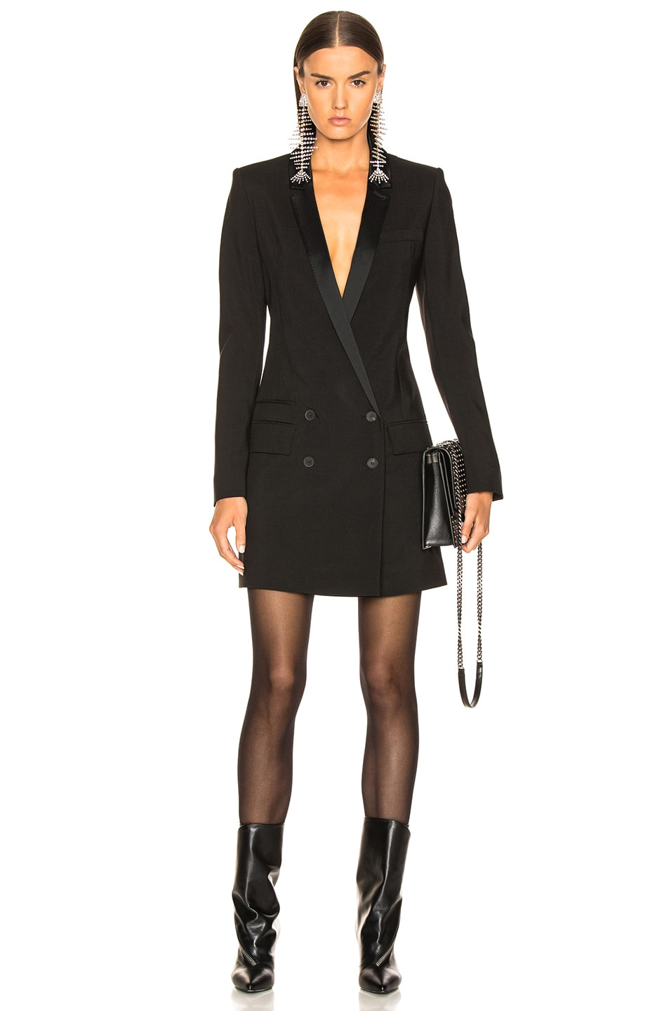 Image 1 of Haider Ackermann Double Breasted Blazer Dress in Black