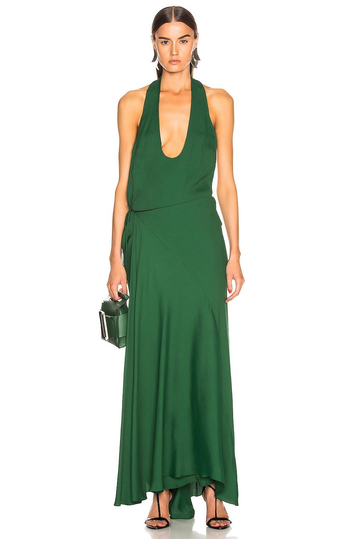 Image 1 of Haider Ackermann Halter Wrap Dress in Malibu Deep Green