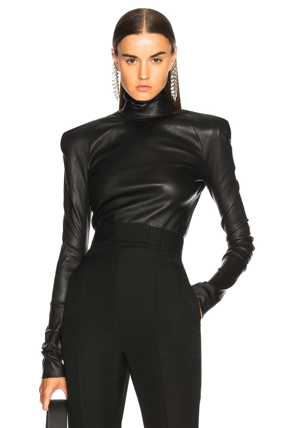 Image 1 of Haider Ackermann Round Shoulder Leather Turtleneck Sweater in Black