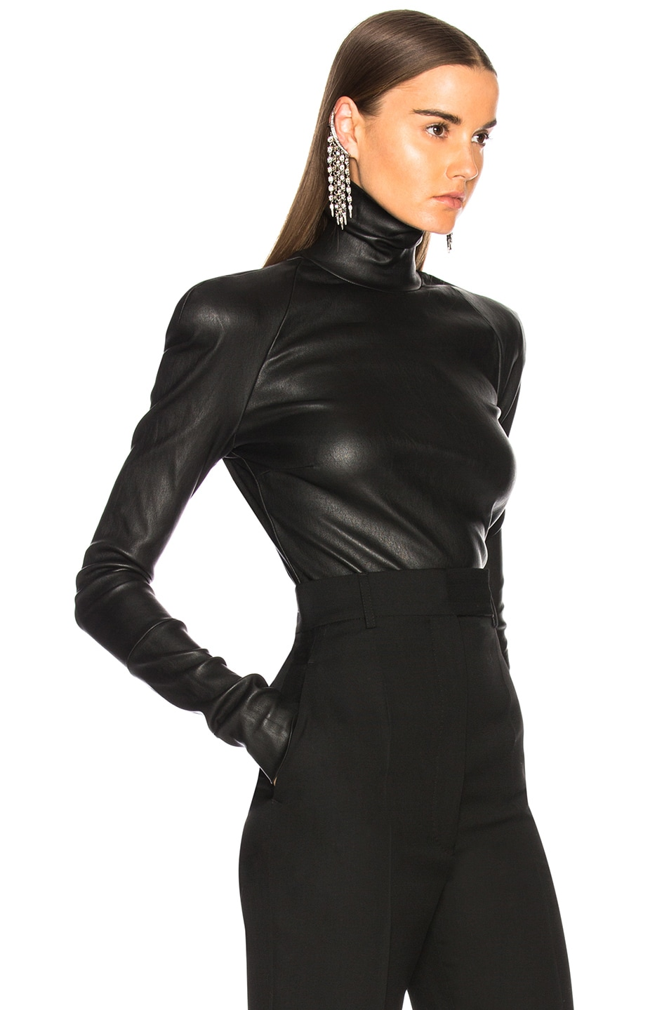 Image 2 of Haider Ackermann Round Shoulder Leather Turtleneck Sweater in Black