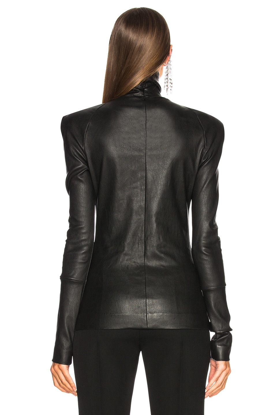Image 3 of Haider Ackermann Round Shoulder Leather Turtleneck Sweater in Black