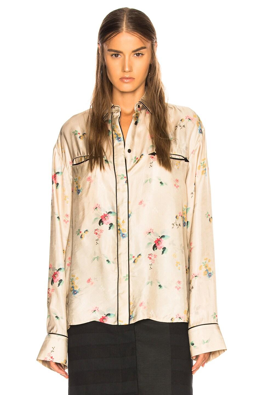 Image 2 of Haider Ackermann Biais Detail Shirt in Freesia Sand & Satin Biais Black