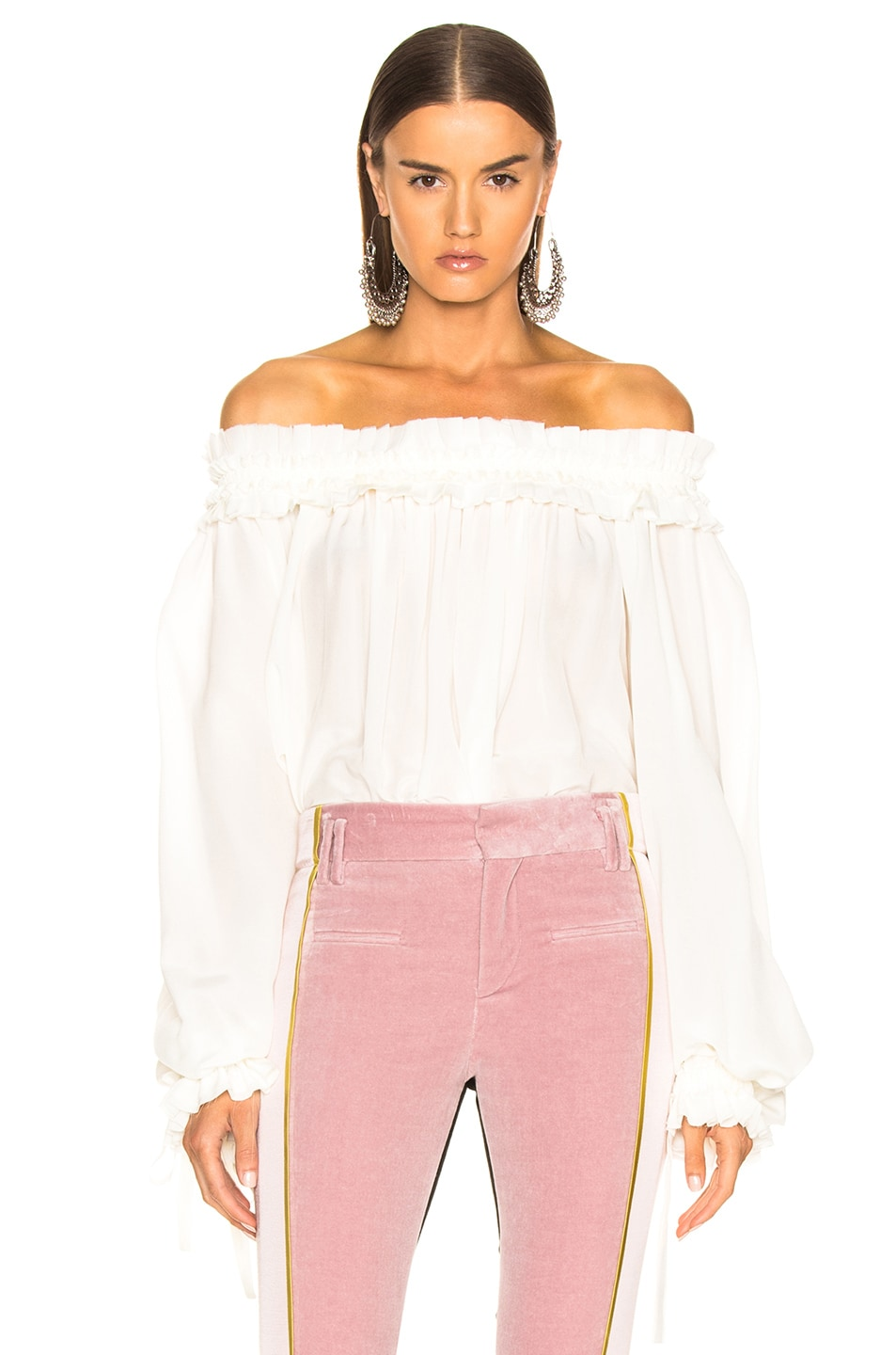 Image 1 of Haider Ackermann Blouson Sleeve Off Shoulder Blouse in Cream