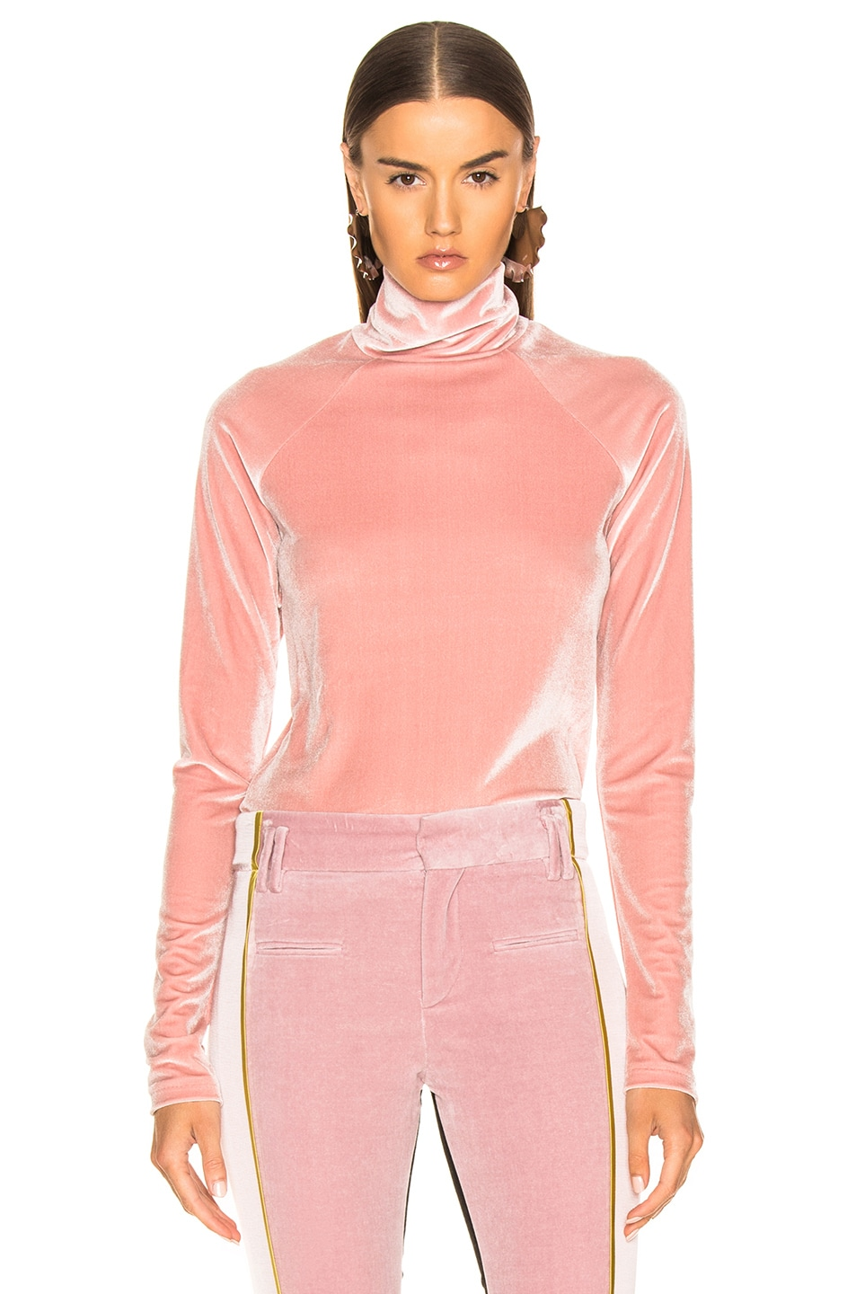 Image 1 of Haider Ackermann Velvet Turtleneck in Kerria Rose