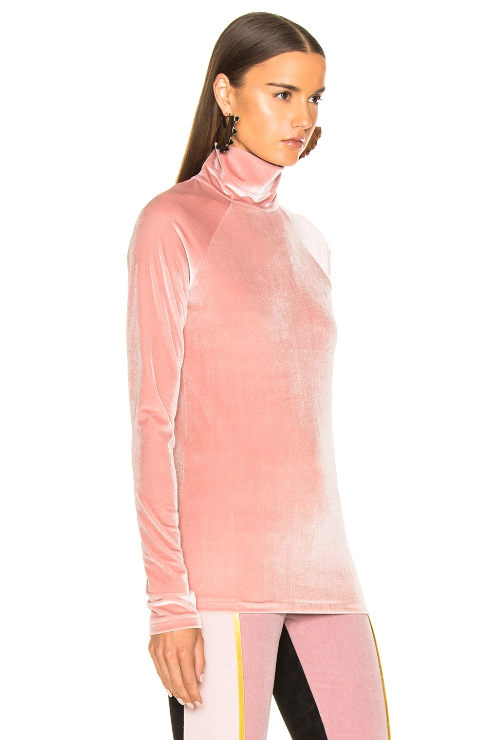 Image 2 of Haider Ackermann Velvet Turtleneck in Kerria Rose