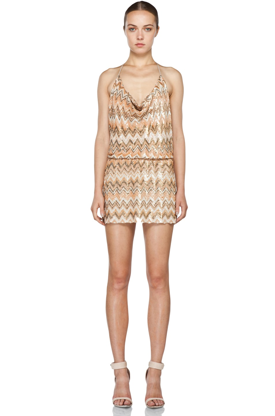Haute Hippie Chevron Sequin Dress in Buff Multi | FWRD