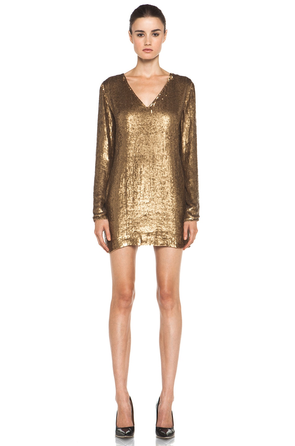 Image 1 of Haute Hippie V Neck Sequin Dress in Gold