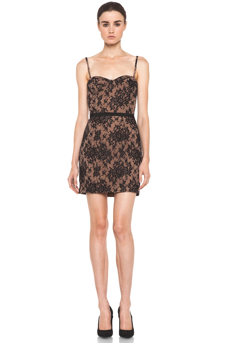 Image 1 of Haute Hippie Lace Corset Dress in Black