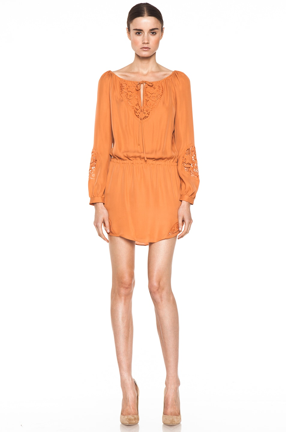 Image 1 of Haute Hippie Embroidered Dress in Sunset