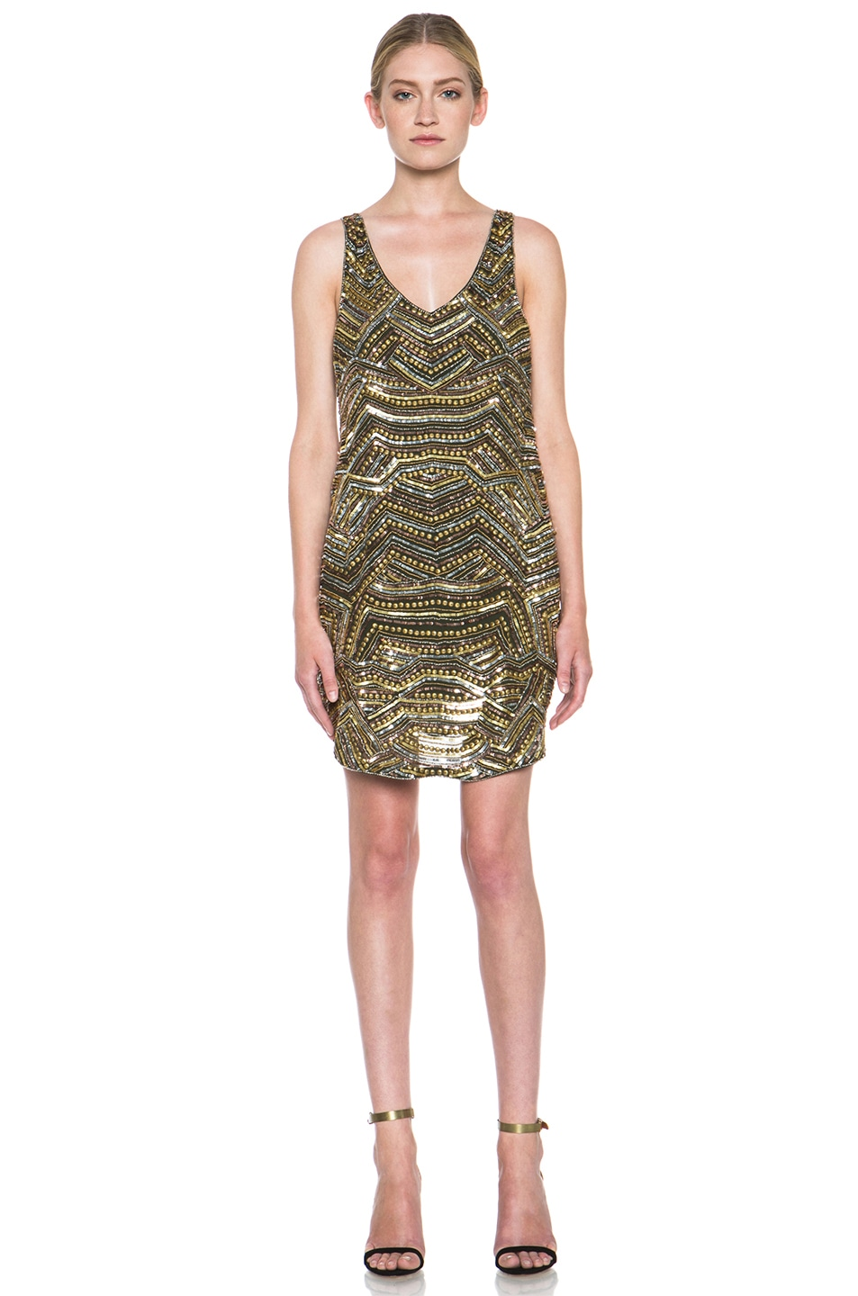 Image 1 of Haute Hippie Embellished Silk Mini Dress in Military & Gold