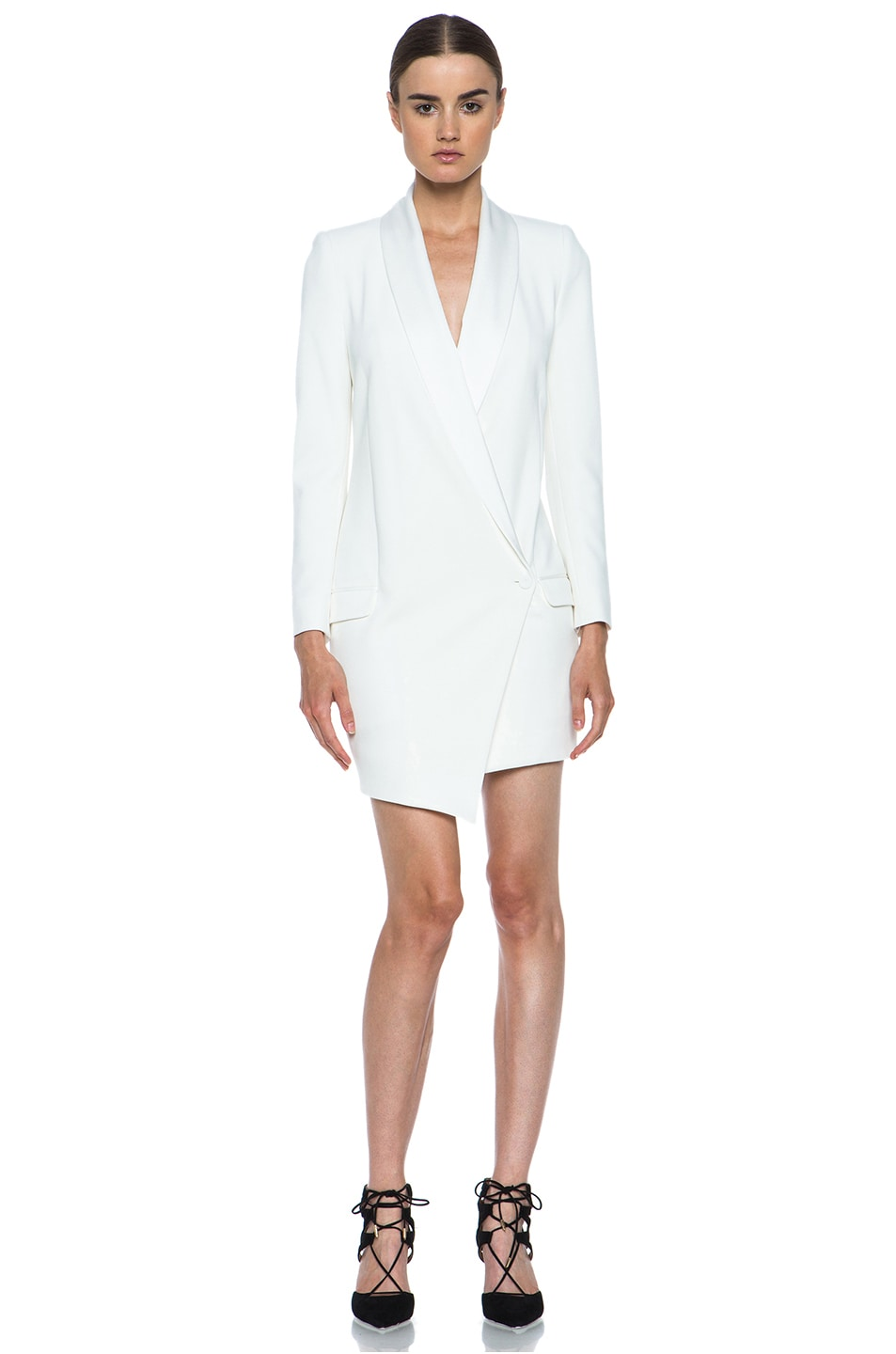 Image 1 of Haute Hippie Oversized Asymmetrical Triacetate-Blend Blazer in Antique Ivory