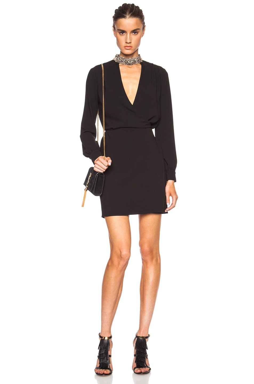 Image 1 of Haute Hippie Embellished Neck Triacetate-Blend Wrap Dress in Black & Gunmetal