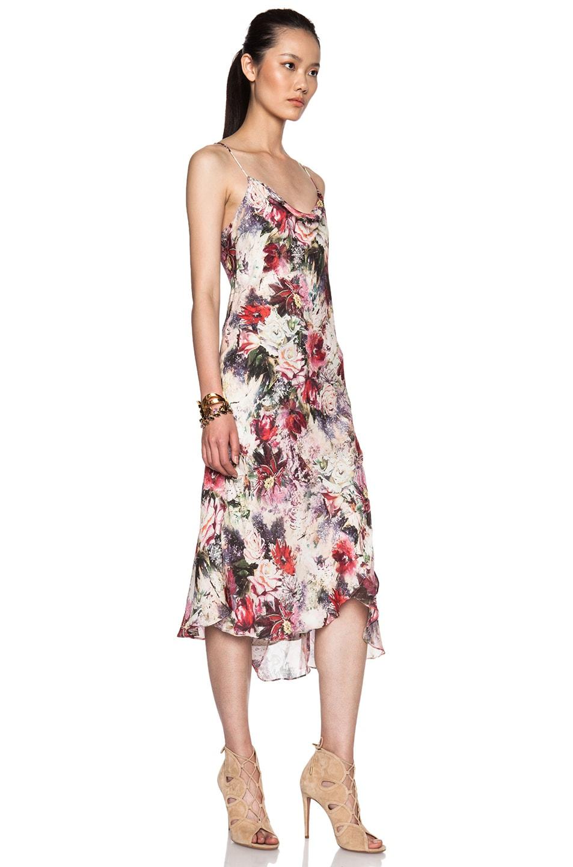 177076c46502 Image 3 of Haute Hippie Printed Strappy Ruffle Silk Dress in Blush Multi